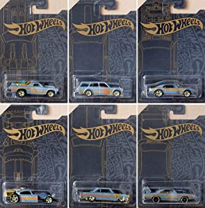 Hot Wheels 51st Anniversary Satin & Chrome Series Set of 6 Cars, Custom '71 El Camino, 71 Datsun 510 Wagon, Custom '67 Pontiac Firebird, Aristo Rat, 63 Chevy II