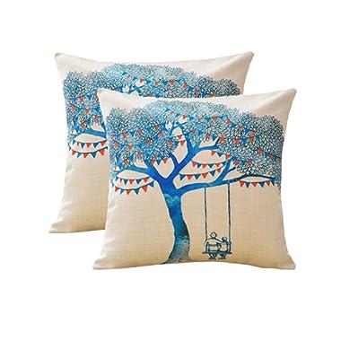 MINA LOBATA Fashion Throw Pillow Covers 18x18 Inch Set of 2 Cotton Linen Decorative Cushion Case Sofa Car Home Bedroom (Blue Tree)
