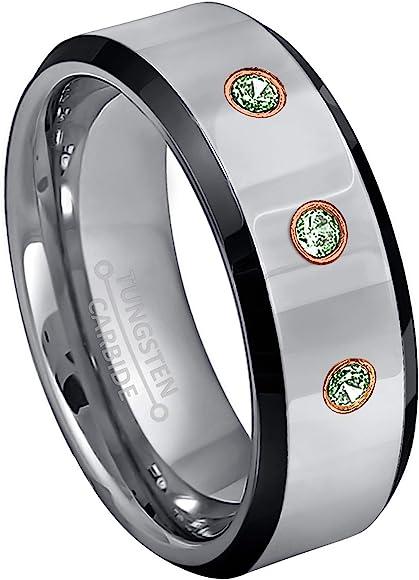 Men/'s Alexandrite /& Diamond Wedding Band June Birthstone Ring,8mm Brushed Center Pipe Cut Edge Tungsten Carbide Ring TS0222
