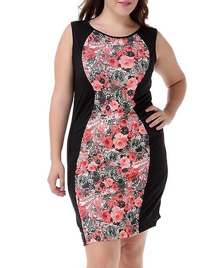 Papaya Wear Women Printed Jumper Skirt Sleeveless Club Dress Plus