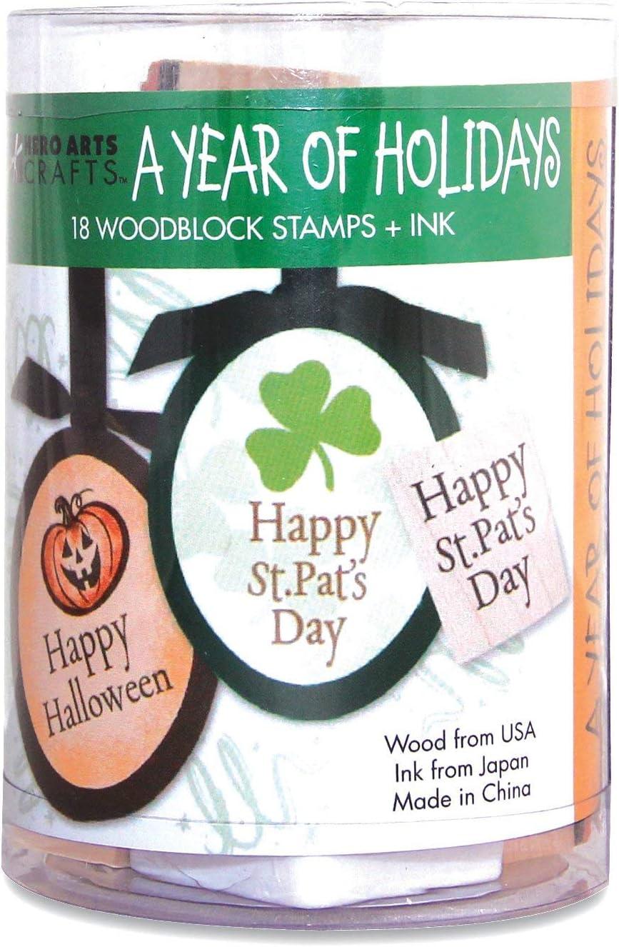 Hero Arts LL809 Ink 'n' Stamp Woodblock Stamp, A Year of Holidays