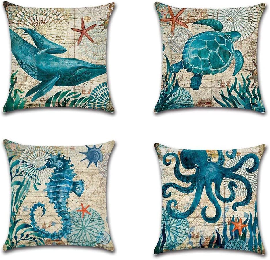 4 Pack Mediterranean Style Home Decor Ocean Cotton Linen Park Sofa Throw Pillow Case Set of 4 Cushion Cover 18 x 18 Inch