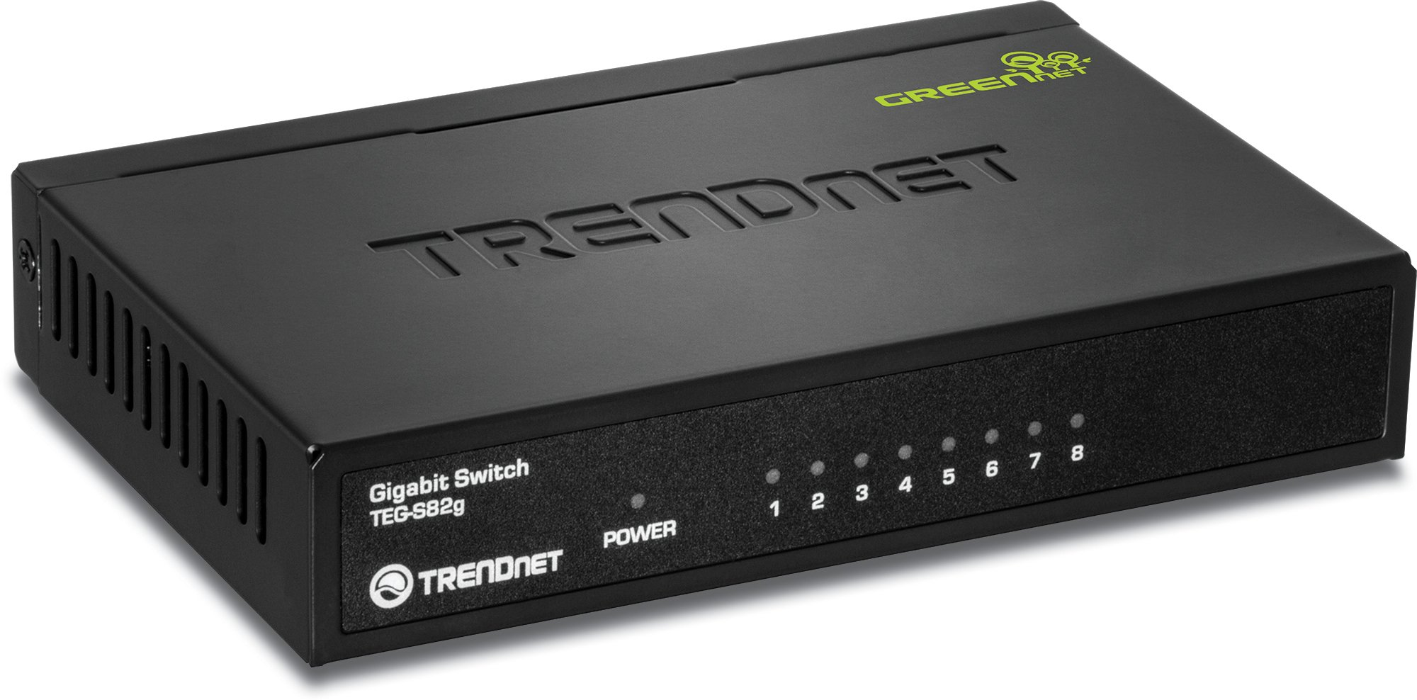 TRENDnet 8-Port Gigabit GREENnet Switch, 10/100/1000 Mbps, 16 Gbps Switching Capacity, Metal Housing, Plug & Play, Lifetime Protection, TEG-S82G