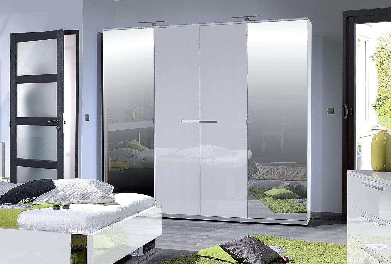 LIGNEUBLE - Portador lacado blanco para dormitorio moderno: el armario de 4 puertas: Amazon.es: Hogar