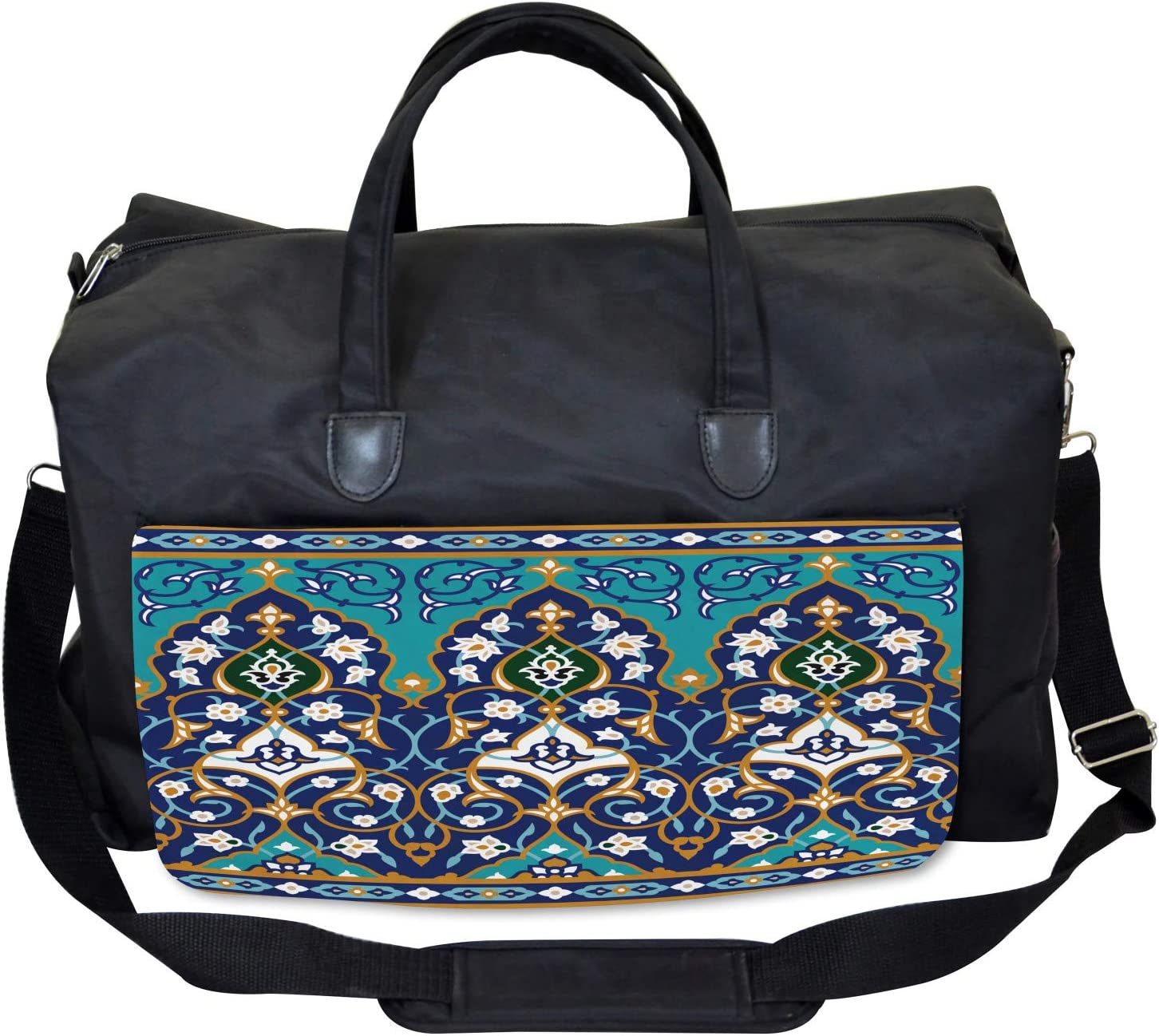 Large Weekender Carry-on Ambesonne Folkloric Gym Bag Abstract Navy Design