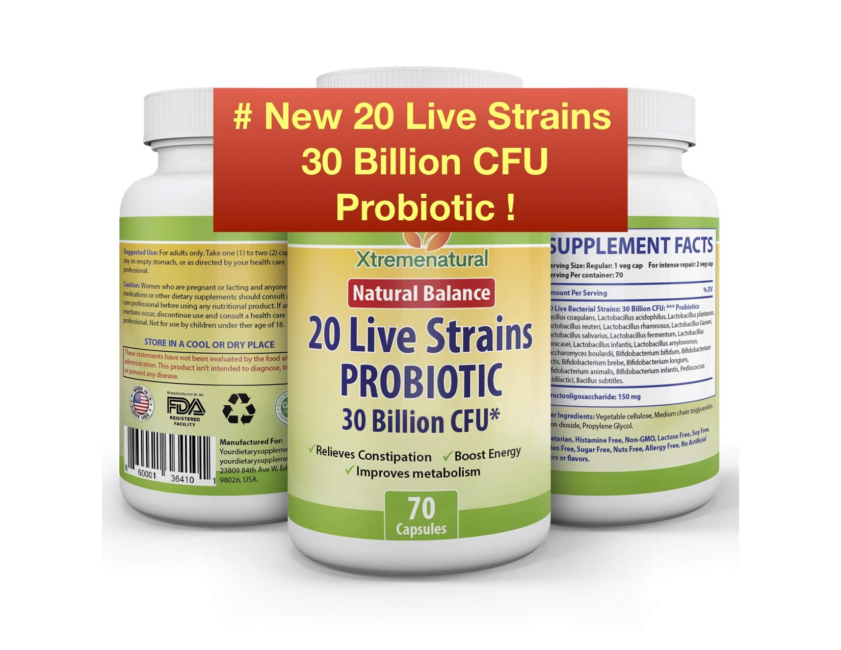 Xtremebiotic Probiotic -20 Strains - 30 Billion CFU - 70 Capsules - for Weight loss - Constipation - Regular Bowel Movement - Fatigue - Immune System Health - Beyond 2 Months Supply