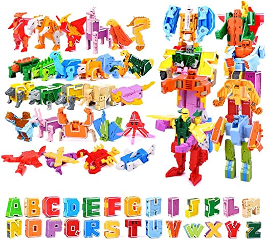 Bloques De Construcci/ón Letras,Juguetes Ensamblados De Dinosaurios Juguetes De Dinosaurios Robot Transformer Puzzle 26 Letras Juguete De Transformado Juguete De Montaje Creativo Juguete De Robot
