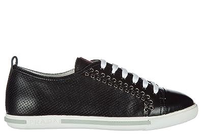 a5d81c45007fb Prada Damenschuhe Turnschuhe Damen Leder Schuhe Sneakers Nappa Sport Schwarz  EU 37 3E5847072F0002