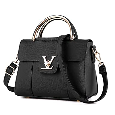 29a681af2c90 Amazon.com  Flap V Women s Luxury Leather Clutch Bag Ladies Messenger Bags  Famous Tote Bag Black  Mosa Baby