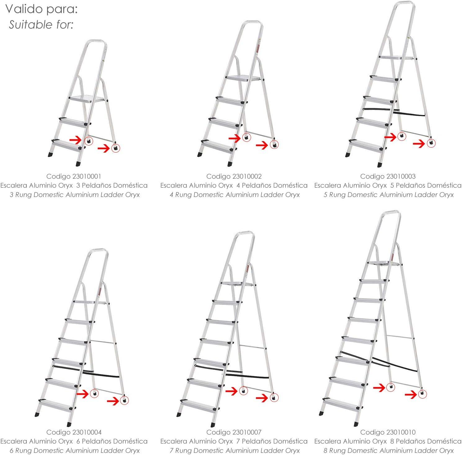 ORYX 23010050 Contera Escaleras Aluminio Trasera, de 3 a 8 Peldaños, Negro: Amazon.es: Bricolaje y herramientas