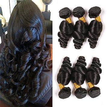 1ba359e6717a41 Amazon.com   Brazilian Loose Wave Weave Bundles Weft Hair 3 Bundle Sale  Unprocessed Virgin Natural Wave Human Hair Extensions Cheap Unprocessed 9A  Grade ...