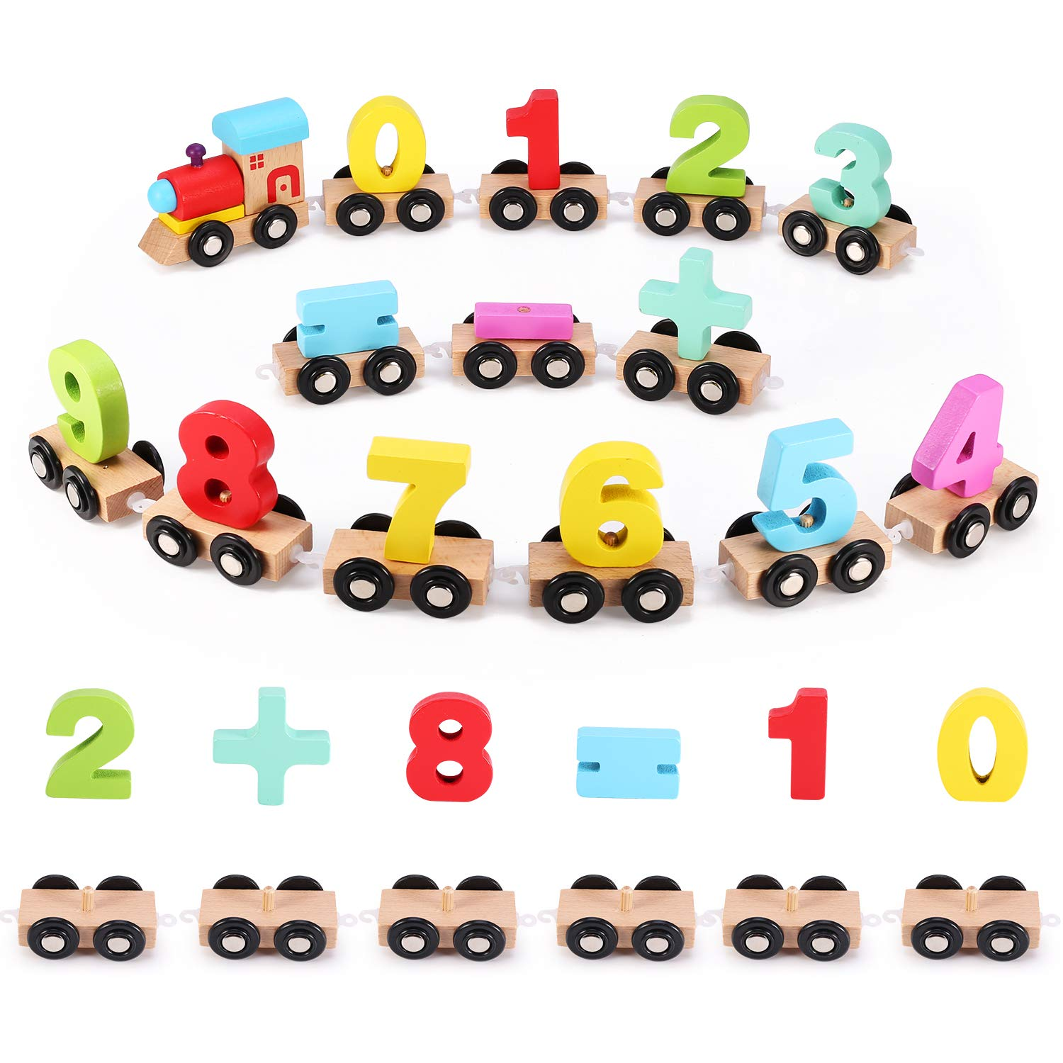 Wooden Number Train Set 31 PCS(14 Linking Cars, Great Gift for Girls and Boys - Best for 3, 4, 5 Year Olds and Up) Compatible for Wooden Tracks from All Major Brands-Preschool Toddler Educational Toy