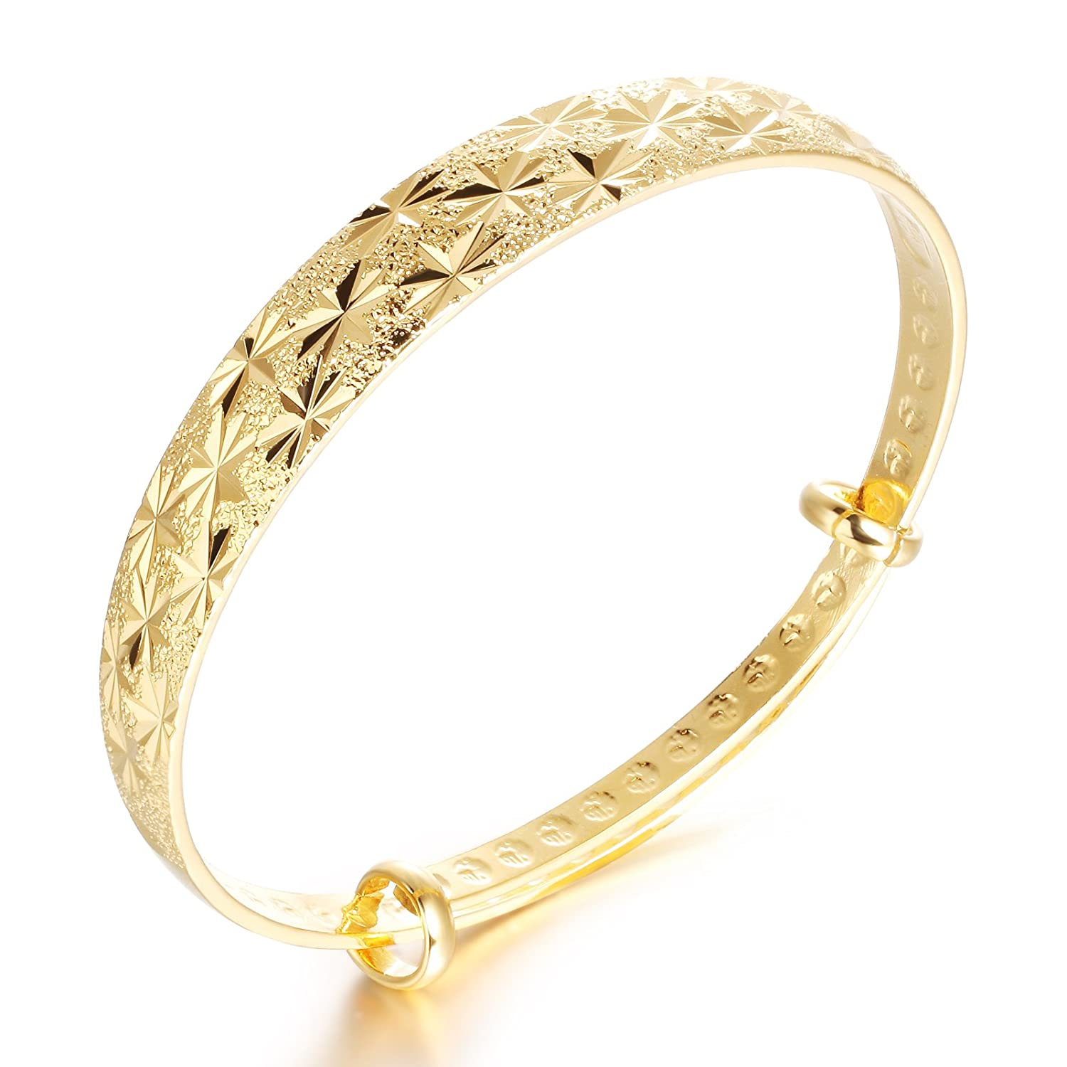 Amazon.com: Girl Era Best Lucky Gold Snowflake Engraved Bracelets ...
