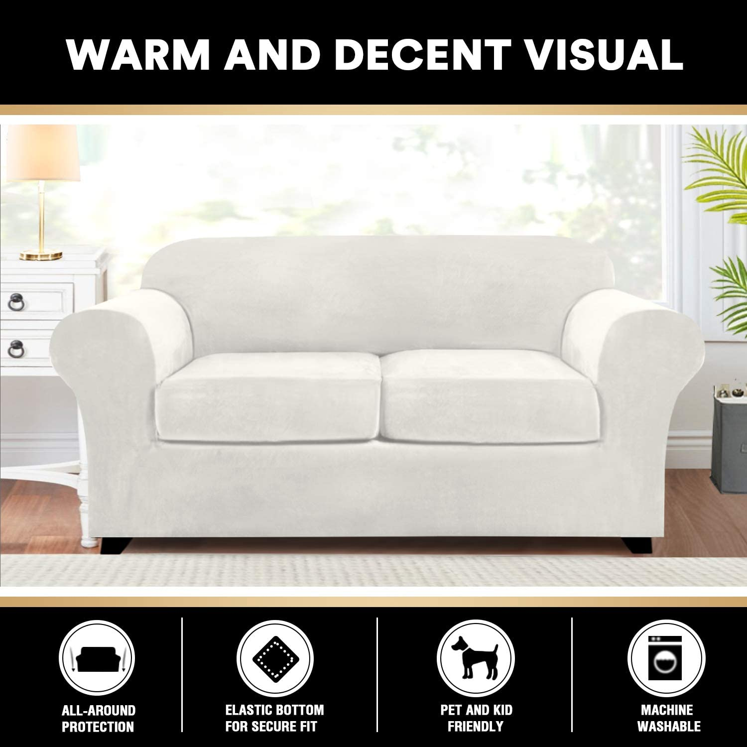 3 Pieces Sofa Covers Stretch Velvet Couch Covers for 2 Cushion Sofa Slipcovers Soft Sofa Slip Covers with 2 Non Slip Straps Furniture Covers with 2 Individual Seat Cushion Covers (Loveseat, Off White): Home & Kitchen