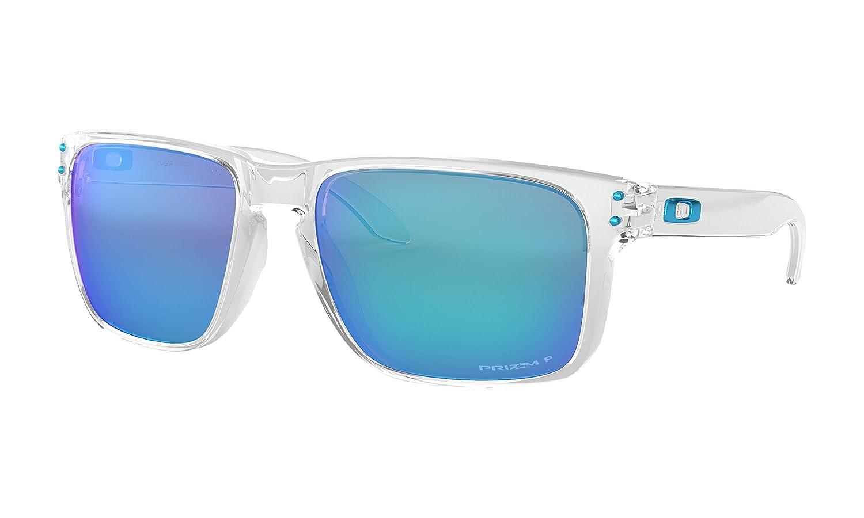 0dd1394f1f4 Amazon.com  Oakley Holbrook XL Sunglasses Polished Clear with Prizm  Sapphire Polarized Lens + Sticker  Clothing