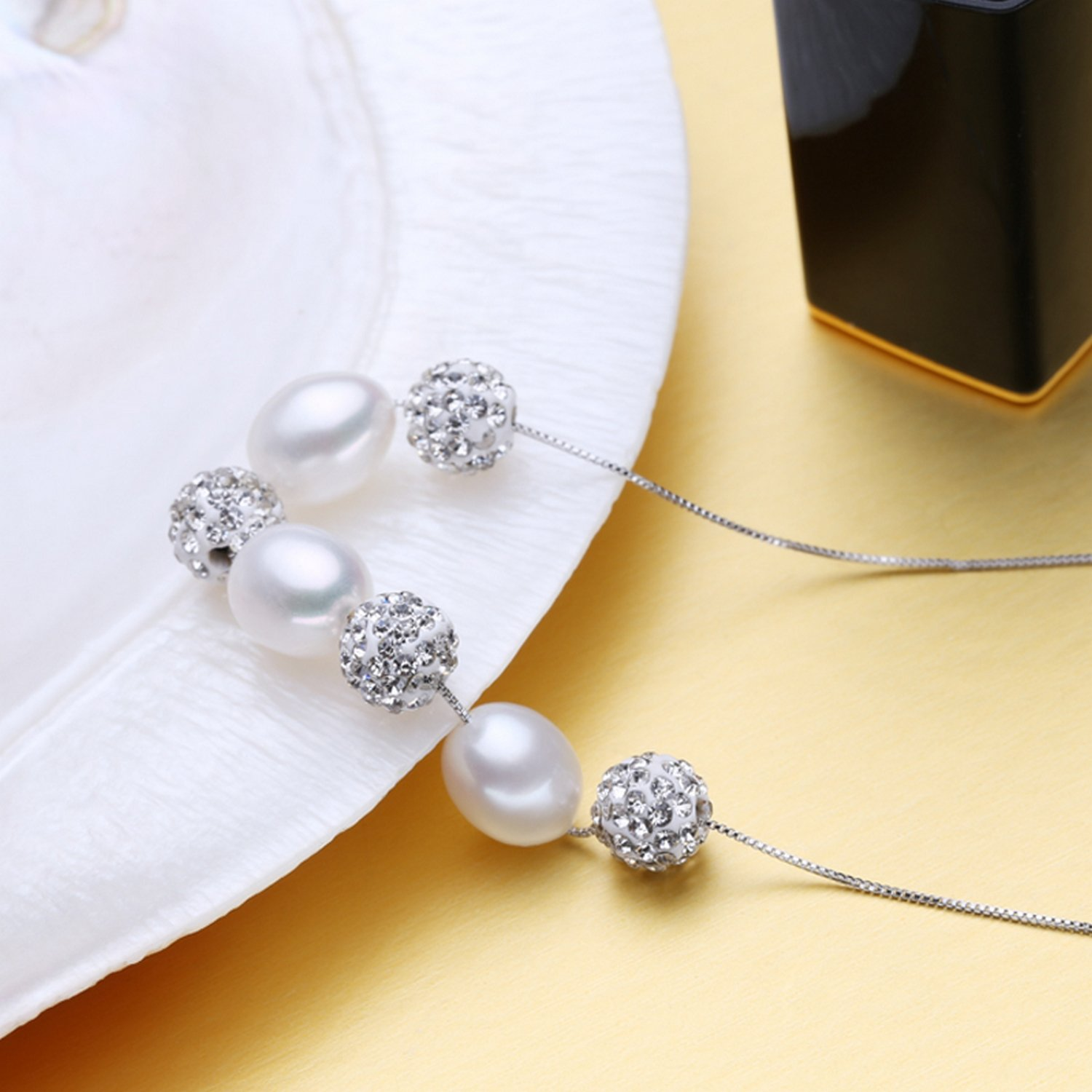 CS-DB Jewelry Silver Pearl Chain Charm Pendants Necklaces