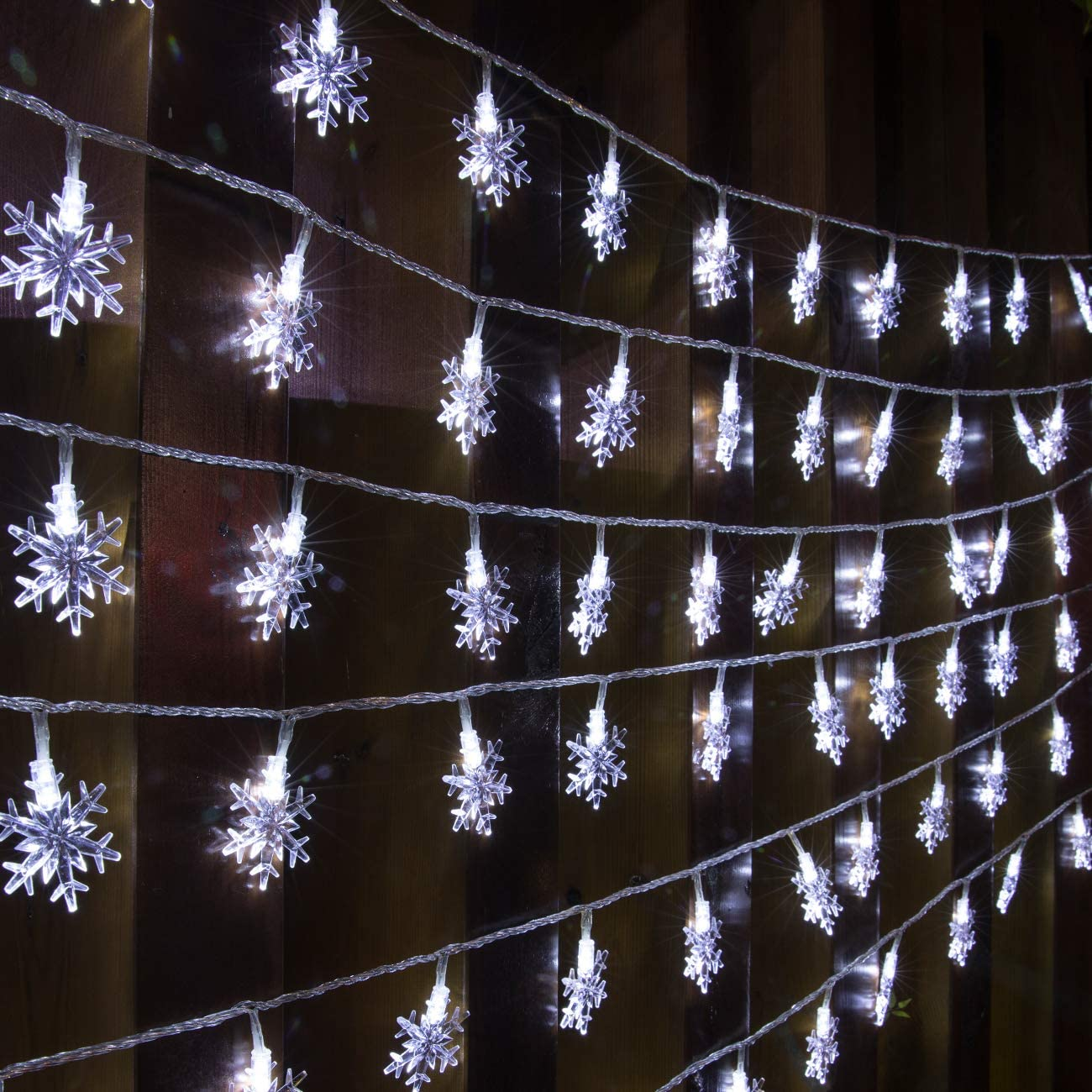 AWQ 100 LED 49 FT Christmas Lights Snowflake String Lights Plug in Fairy Lights 8 Modes Waterproof Extendable for Indoor Outdoor Wedding Birthday Christmas Tree Garden Decor (White)