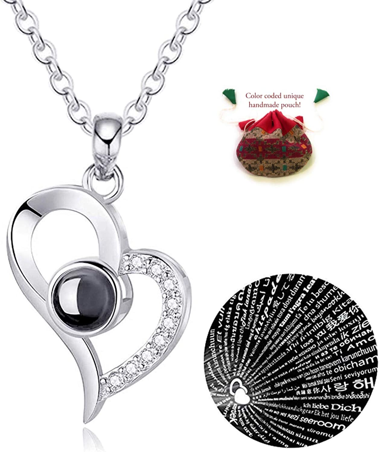 Yandam Personalized 925 Sterling Silver Swan Necklace Custom Photo Necklace 100 Languages I Love You Projection Necklace