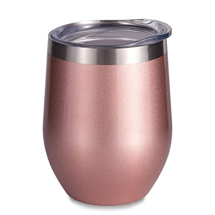 4c96ed0a2a1 SUNWILL Vaccum Insulated Wine Tumbler with Lid Rose Gold, Double Wall  Stainless Steel Stemless Insulated
