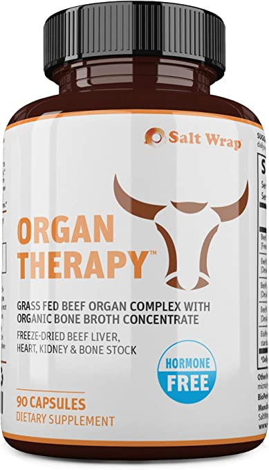 SaltWrap Organ Therapy - Grass Fed Beef Organ Meat Complex Supplement with Organic Bone Broth Concentrate (Beef Liver, Heart, Kidney and Bone Broth Capsules with BioPerine), Desiccated, 90 Capsules