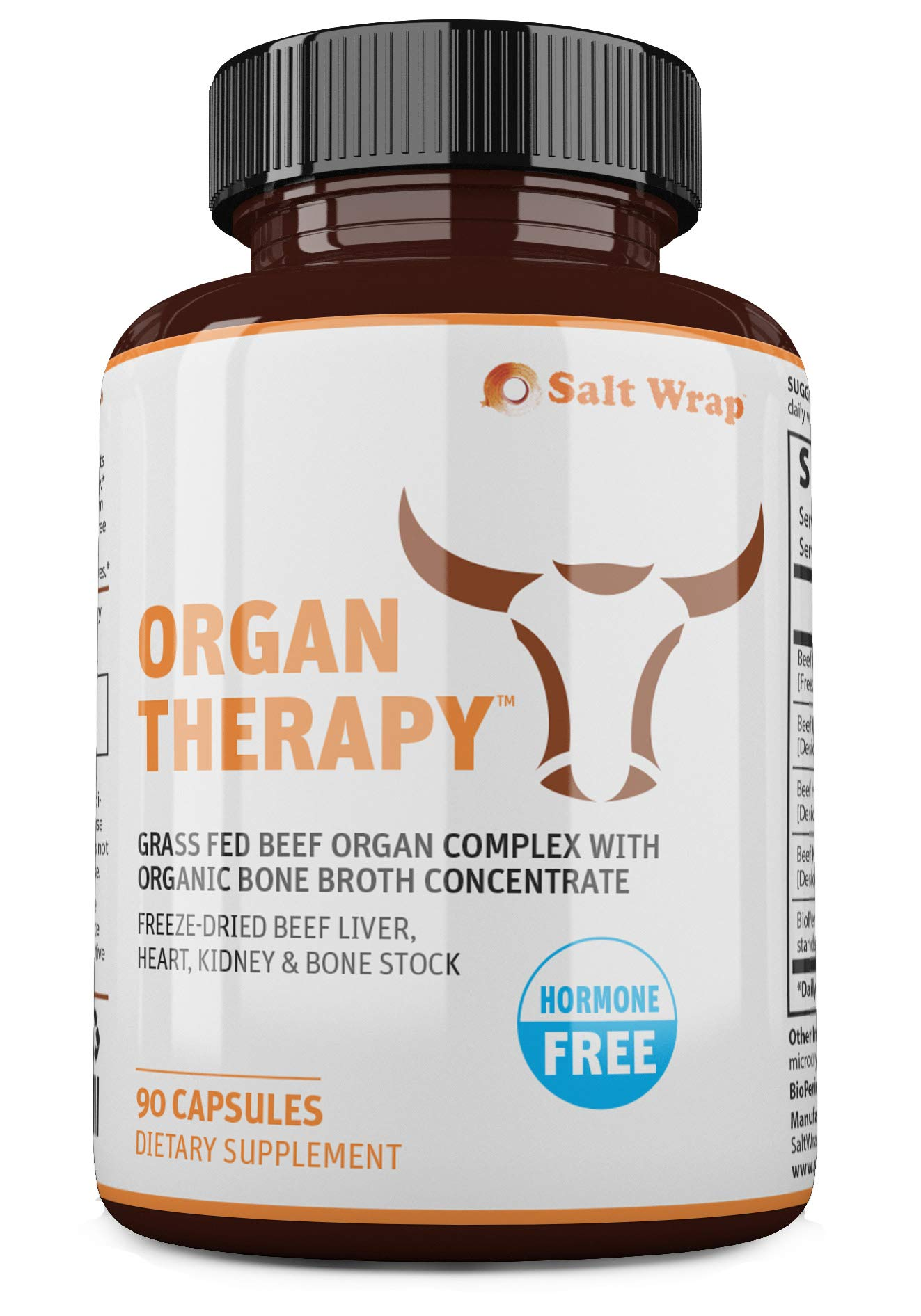 Organ Therapy Grass Fed Beef Organ Meat Complex Supplement with Organic Bone Broth Concentrate (Beef Liver, Heart, Kidney and Bone Broth Capsules with BioPerine), 90 Capsules by SaltWrap