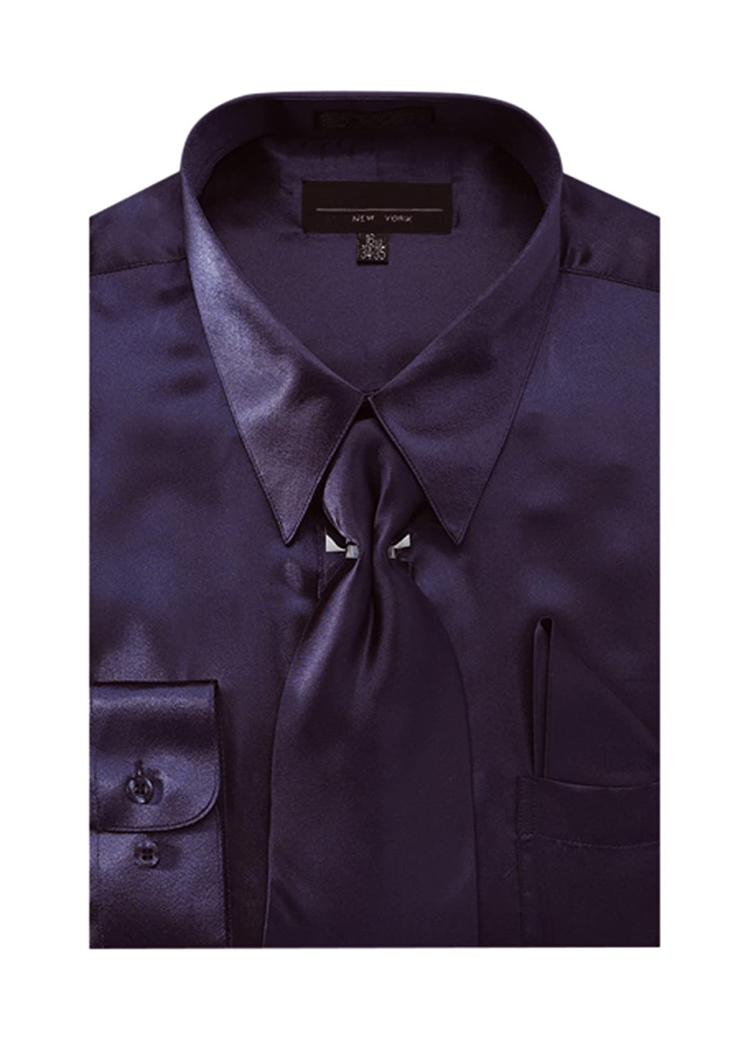 Mens Solid Color Satin Dress Shirt Tie And Hanky Set At Amazon