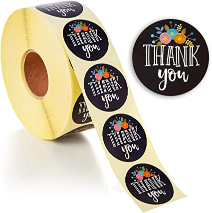 Amazon Com 500 Pcs Thank You Stickers Roll For Small Business 1 5 Inches Floral Black Office Products