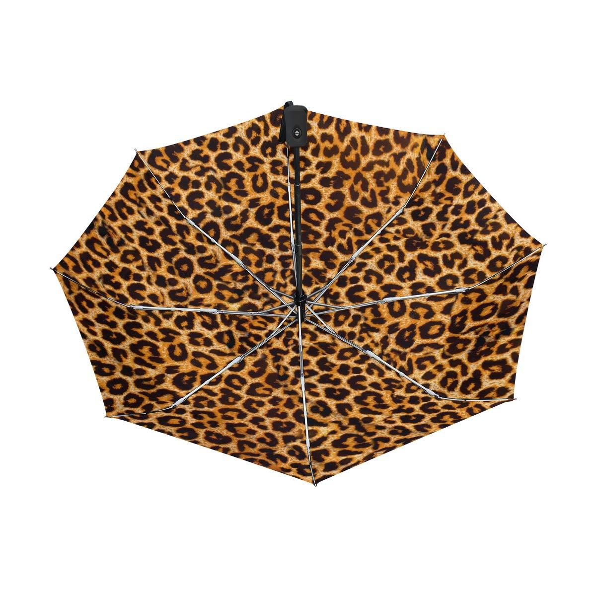 FAJRO- Paraguas de Viaje con patrón de Piel de Leopardo, Resistente al Viento, Paraguas automático para Lluvia al Aire Libre, para Mujeres/Hombres, ...