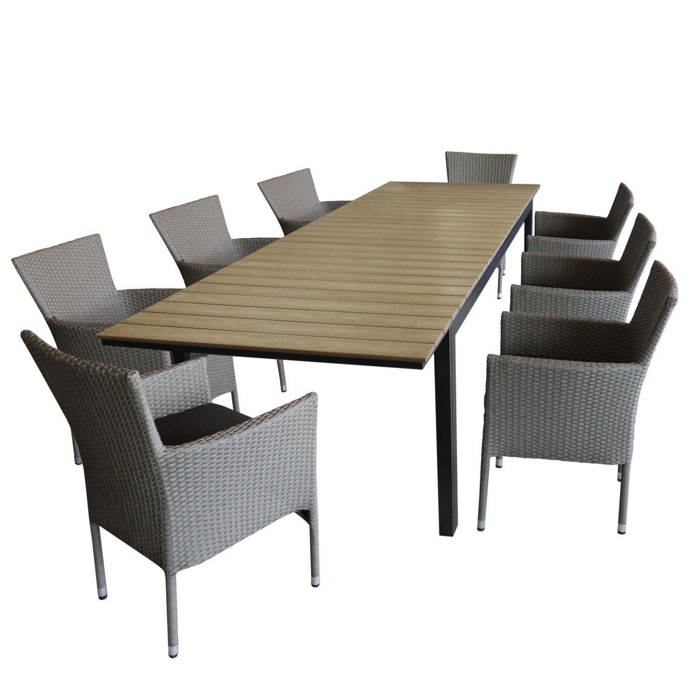 9tlg. Gartenmöbel Set Ausziehtisch, Aluminiumrahmen, Tischplatte aus ...