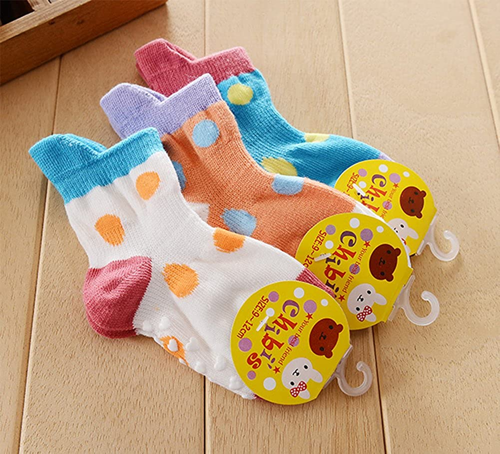 StylesILove Baby Toddler Assorted Design Anti-Slip Cotton Crew Socks 3-Pack