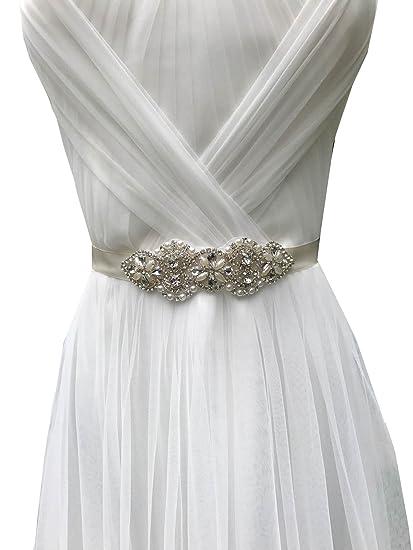 5c5281e80c7 Bridal Sash Belts Wedding Ribbon Belts Rhinestones Belt Ivory Ribbon Belt  for Brides A48 (Silver)  Amazon.co.uk  Clothing