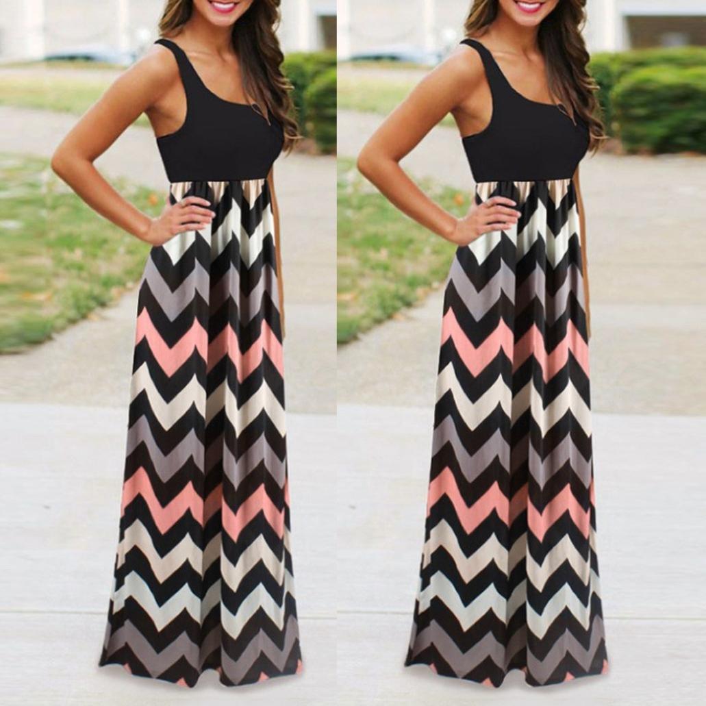 1dcafe3b5fb4f2 Jaysis Damen Kleid Gestreift Lange Boho Kleid Strandkleid Sommerkleid  Maxikleid S-3XL: Amazon.de: Bekleidung