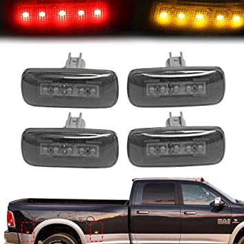 RUXIFEY Sequential Dully Bed LED Side Marker Lights Front Rear Fender Sidemarker Lamp Compatible with 2003-2009 Dodge Ram 2500 3500 Smoked Pack of 2