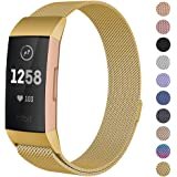 CAVN Compatible Fitbit Charge 3 / Charge 3 SE Bands Women Men Small Large, Metal Milanese Loop Stainless Steel Replacement Accessories Straps Bracelet Compatible Fitbit Charge 3 Fitness Tracker