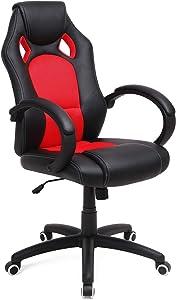 SONGMICS OBG56BR Racing - Silla de Escritorio de Oficina Ergonómica Regulable con Ruedas, color Rojo