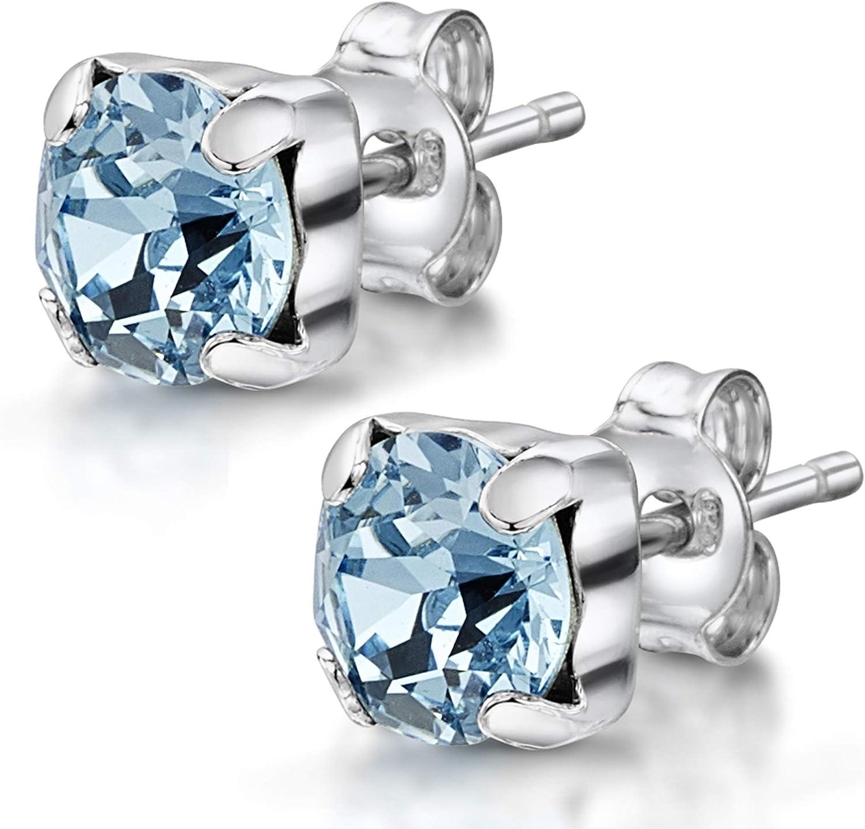 Amberta Joyas - Pendientes de botón en Plata de Primera Ley 925 con Auténticos Cristales de Swarovski para Mujer - Cristal Xirius Chaton en Varios Colores - Hipoalergénicos
