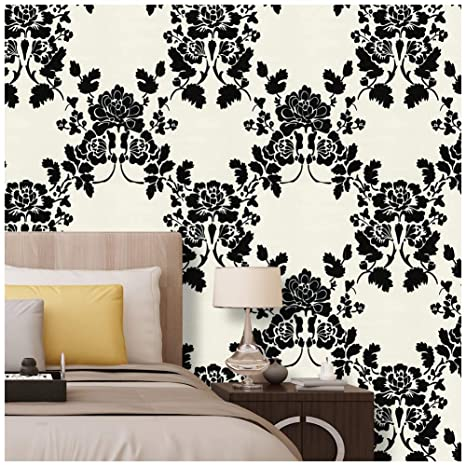 Haokhome 630562 Thicker Material Asian Oriental Art Painting Flower Wallpaper Rolls White Black Flolar Living Room Wall Paper Murals Barnwood Home
