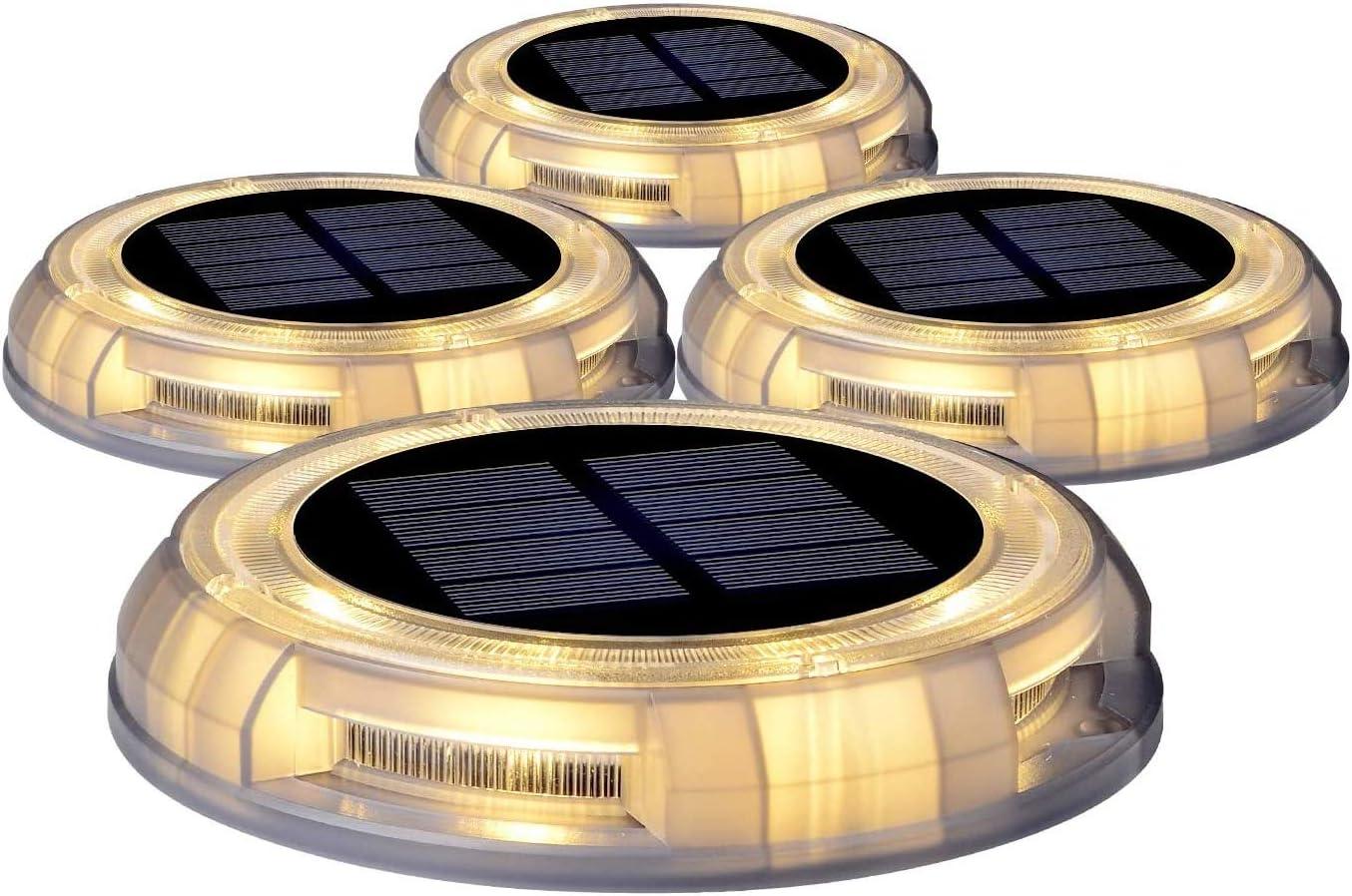 Solar Disk Lights, 4PACK Solar Dock Lights, Outdoor Waterproof Solar Ground Light for Lawns, Walkways, Courtyards, Decks, Terraces, Pathway, Stairs