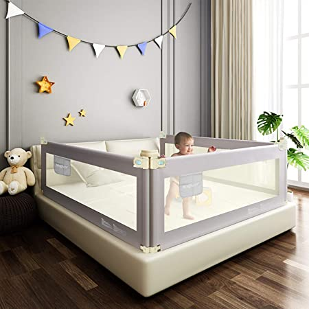 Mingfuxin Bed Rails for Toddlers, Vertical Lifting Bed Guardrail, Extra Long Safety Beds Crib Rails Security Fencing Children Guard for Twin, Double, Full Size Queen & King Mattress(59inch)