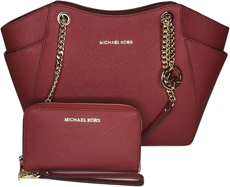 31e562f55c2 MICHAEL Michael Kors Jet Set Travel Large Chain Shoulder Tote bundled with  Large Flat MF Phone
