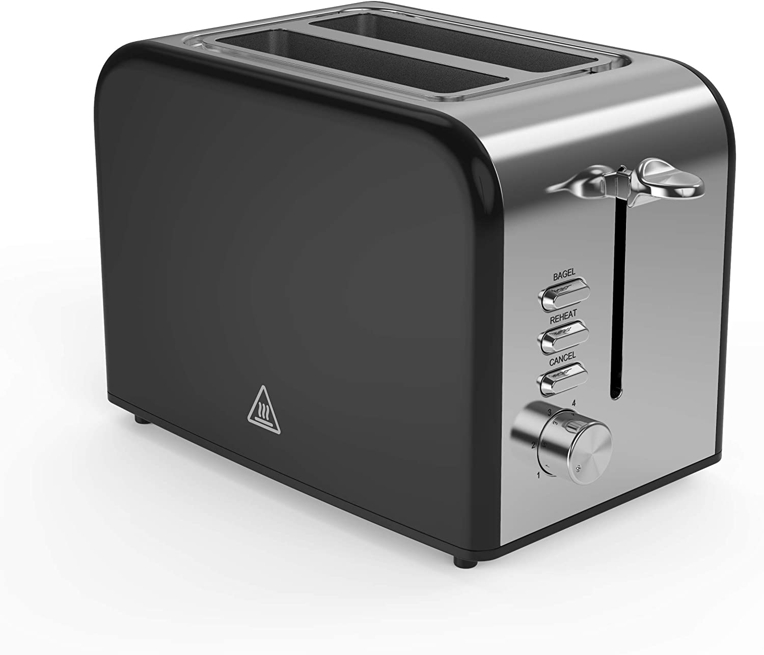 Toaster 2 Slice Toaster Evenly And Quickly Black Stainless Steel Bagel Toaster With 2 Wide Slots 6 Browning Dials And Removable Crumb Tray For Bread Waffles
