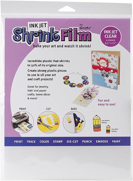Grafix 8-1//2-Inch by 11-Inch Shrink Film Printable White Inkjet 6 Pack