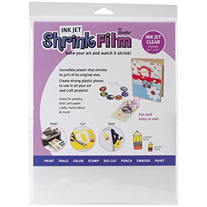 photograph about Printable Shrink Plastic called : GRAFIX KSF6-CIJ 6 Piece Printable Shrink Motion picture, 6