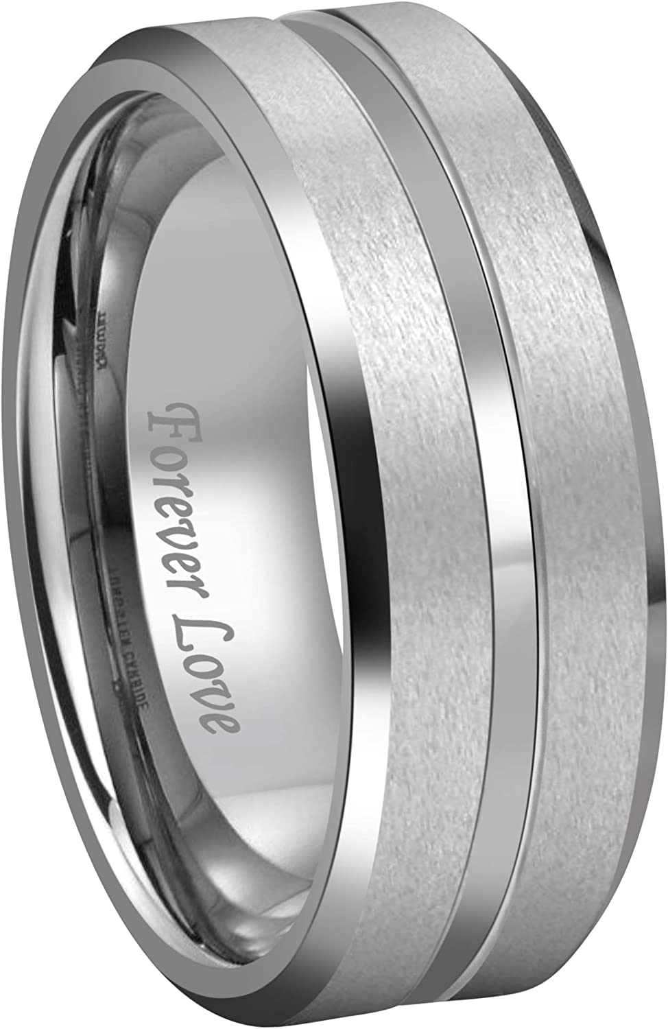 Kingary 8mm Tungsten Wedding Anniversary Bands for Couples Black/Silver Matte Finish Beveled Edge Ring Engraved Forever Love Size 6 to 17