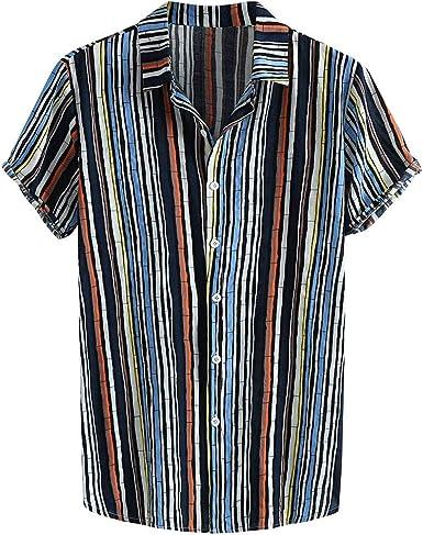 CAOQAO Camisa Hawaiana Hombre Manga Corta 2019 Fashion Casual Blusa: Amazon.es: Ropa y accesorios