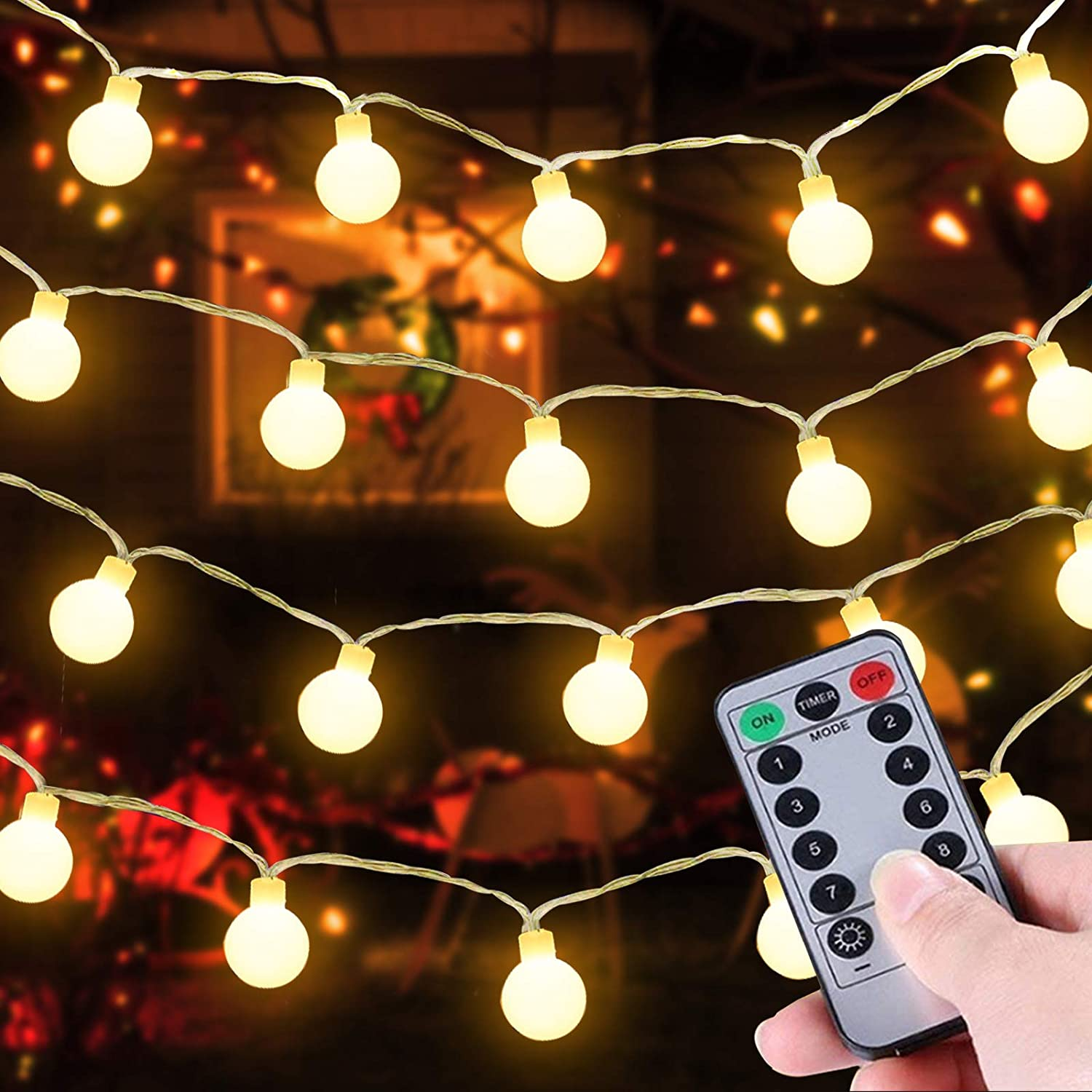 TURNMEON 33 Ft 100 LED Globe Ball String Lights Christmas Decor Battery Operated Fairy Lights Remote Control Timer 8 Mode Waterproof Holiday Xmas Decor Indoor Outdoor Home Party Bedroom (Warm White)