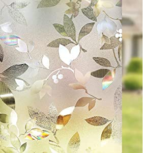 rabbitgoo Decorative Window Film, Static Cling Privacy Window Sticker, No Glue 3D Window Glass Film for Home Office, Removable Non-Adhesive Window Tint Film, Leaf Pattern, 35.4 x 78.7 inches