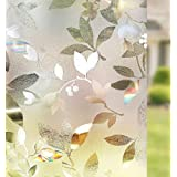 RABBITGOO 3D Window Films Privacy Film Static Decorative Leaf Film Non-Adhesive Heat Control Anti UV 35.4In. by 78.7In. (90 x 200CM)