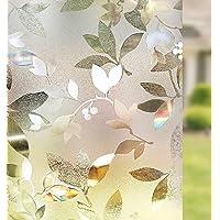 Rabbitgoo 3D Window Films Privacy Film Static Decorative Leaf Film Non-Adhesive Heat Control Anti UV,90 x 200…