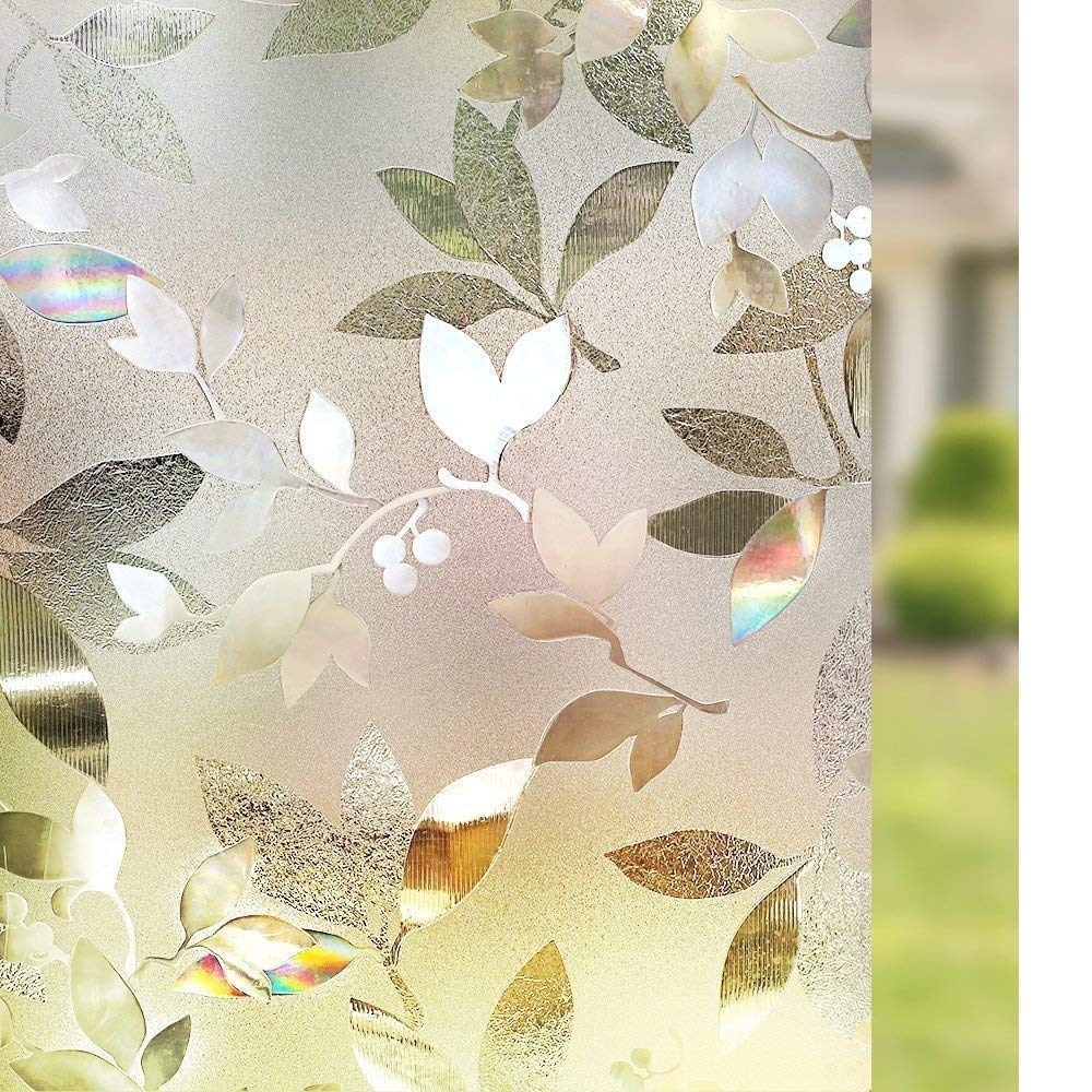 Rabbitgoo 3D Window Films Privacy Film Static Decorative Leaf Film Non-Adhesive Heat Control Anti UV 35.4 x 78.7 inches (2.95 x 6.56 feet) by Rabbitgoo